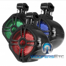 "Pair of MWT-65BL - Power Acoustik 6.5"" 600 Marine Boat Multi Color LED Tower Speakers"