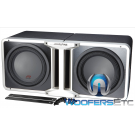 "Pkg Pair of R-SB10V Alpine Halo Series 10"" linkable ported subwoofer enclosure + Alpine KTX-H10 Linking Kit"