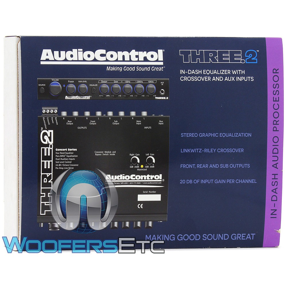three 2 audiocontrol in dash pre amp equalizer crossover w dual auxiliary inputs. Black Bedroom Furniture Sets. Home Design Ideas