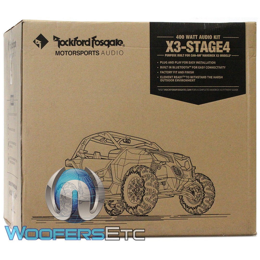 Rockford Fosgate X3-STAGE4 400W Stereo, Speaker and Subwoofer Kit